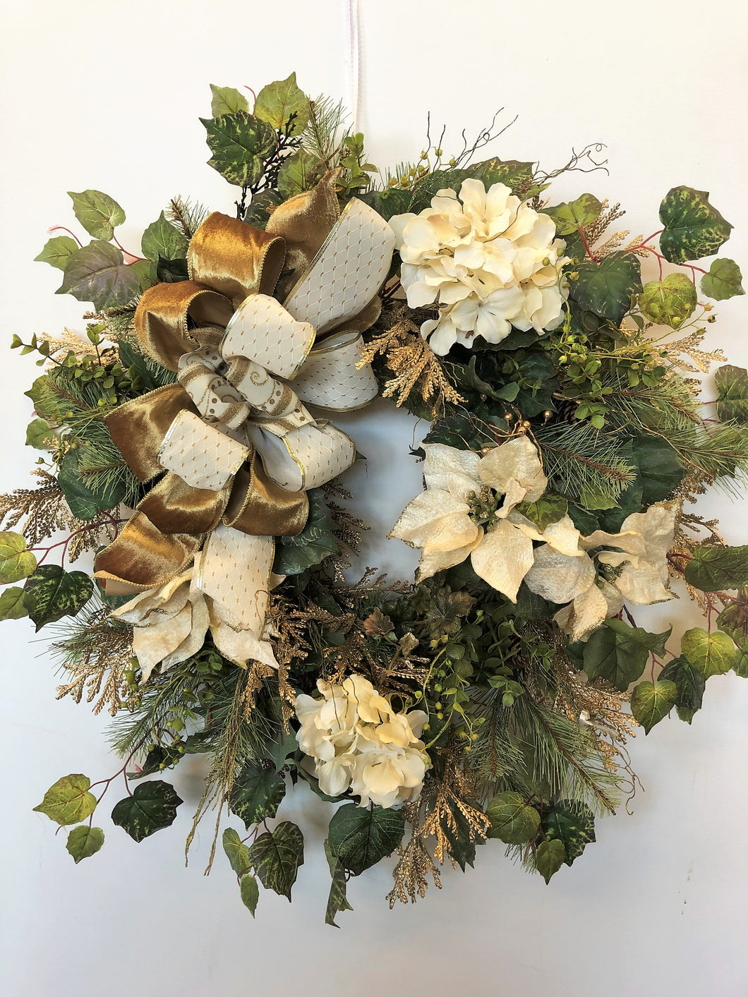Cream and Gold Poinsettia and Hydrangea Holiday Wreath/Hol31 - April's Garden