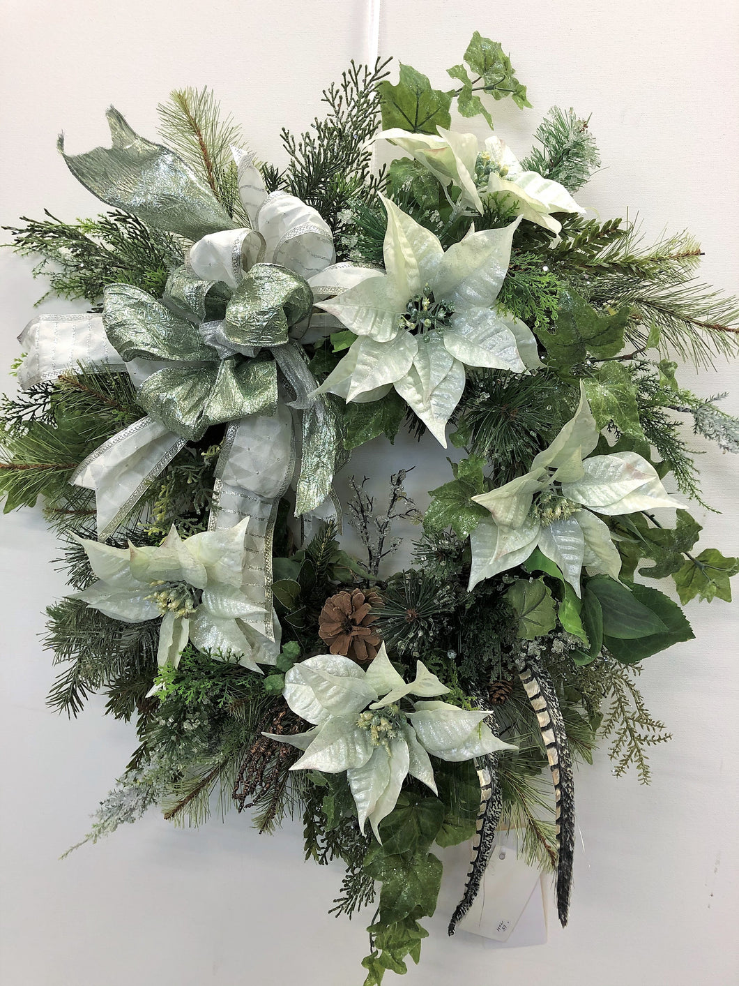 Pale Green and Silver Poinsettia Silk Floral Holiday Wreath/Hol37 - April's Garden Wreath