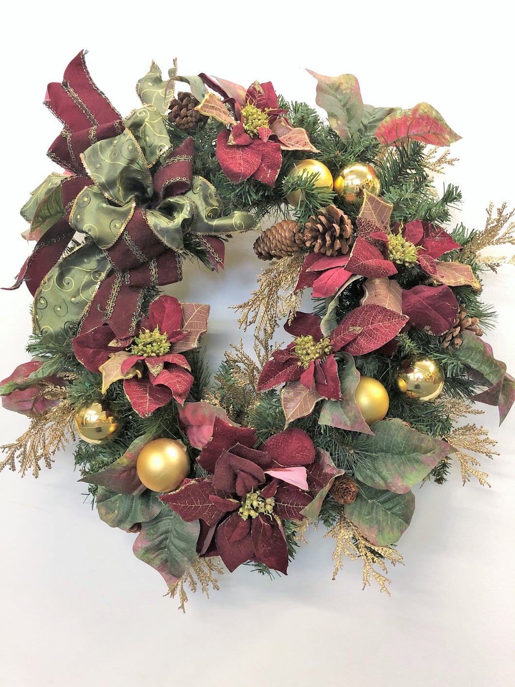 Burgundy and Gold Poinsettia Silk Floral Holiday Christmas Wreath/Hol52