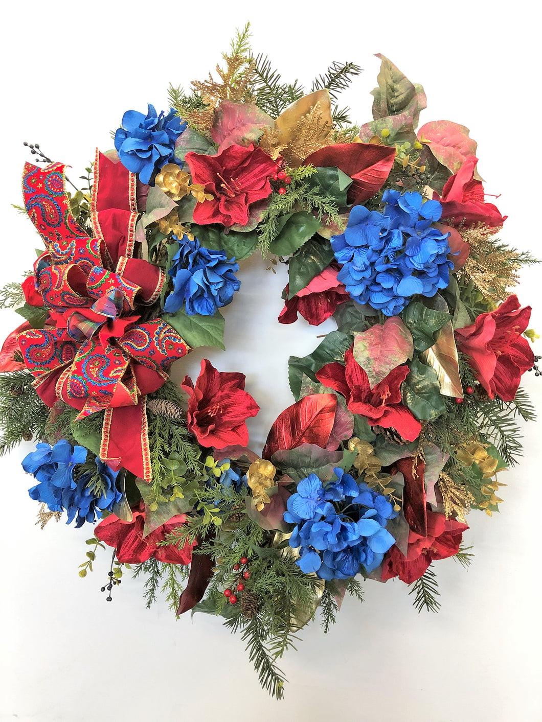 Red, Blue and Gold Large Holiday Winter Wreath with Hydrangeas/Hol72 - April's Garden