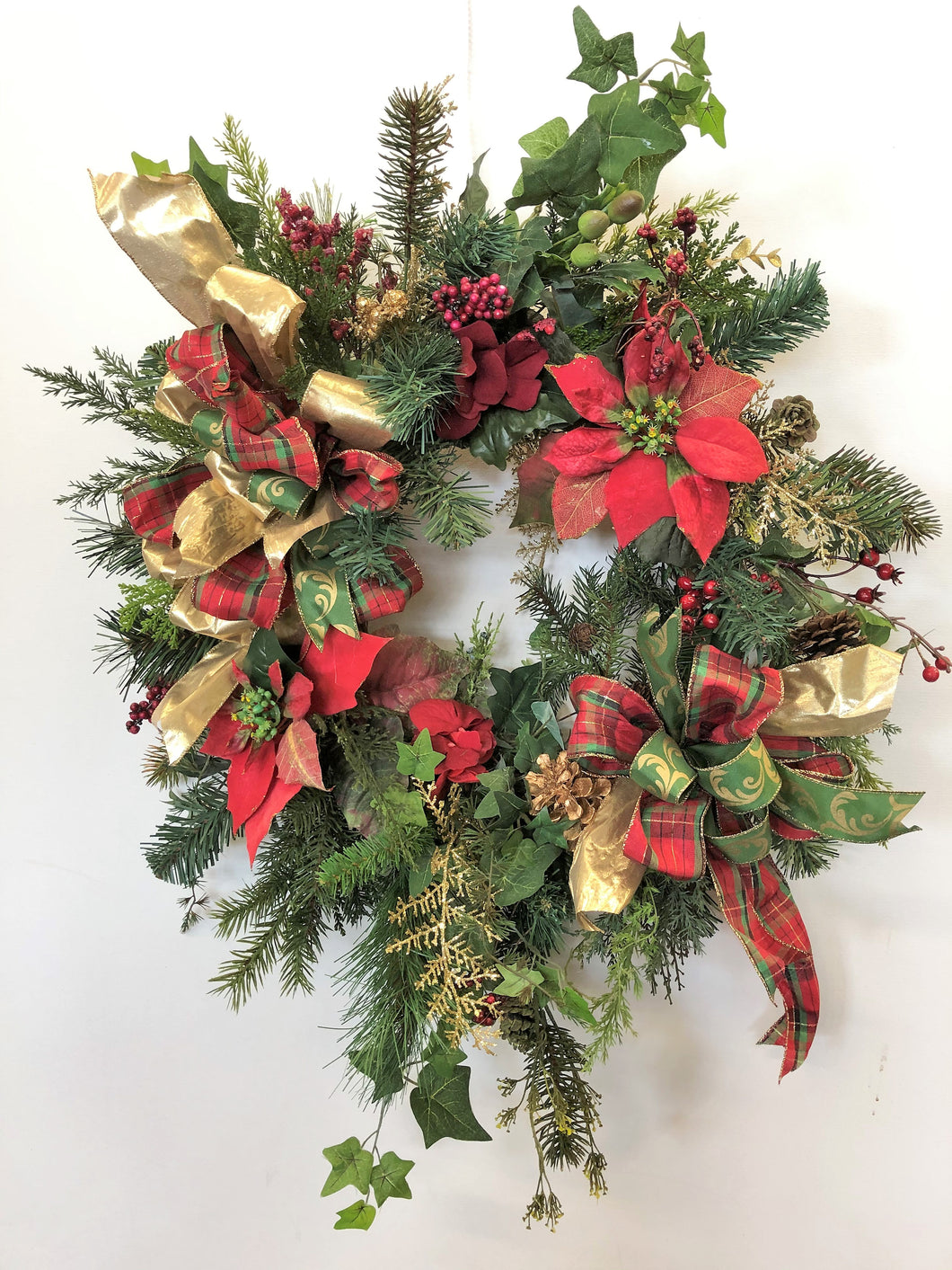 Red and Green Silk Floral Holiday Wreath with Poinsettias and Hydrangeas/Hol85 - April's Garden Wreath