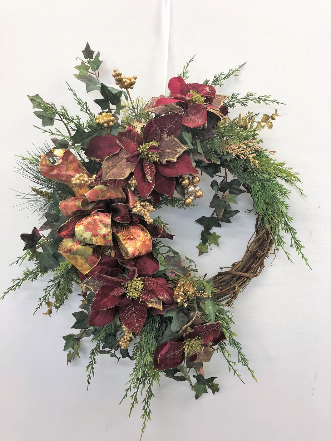 Burgundy and Gold Silk Floral Holiday Crescent Wreath/ Hol89 - April's Garden Wreath