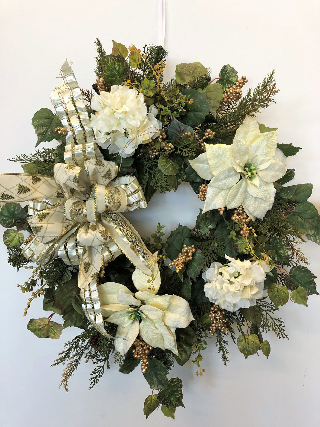 Cream Poinsettia And Hydrangea Silk Floral Holiday Front Door Wreath