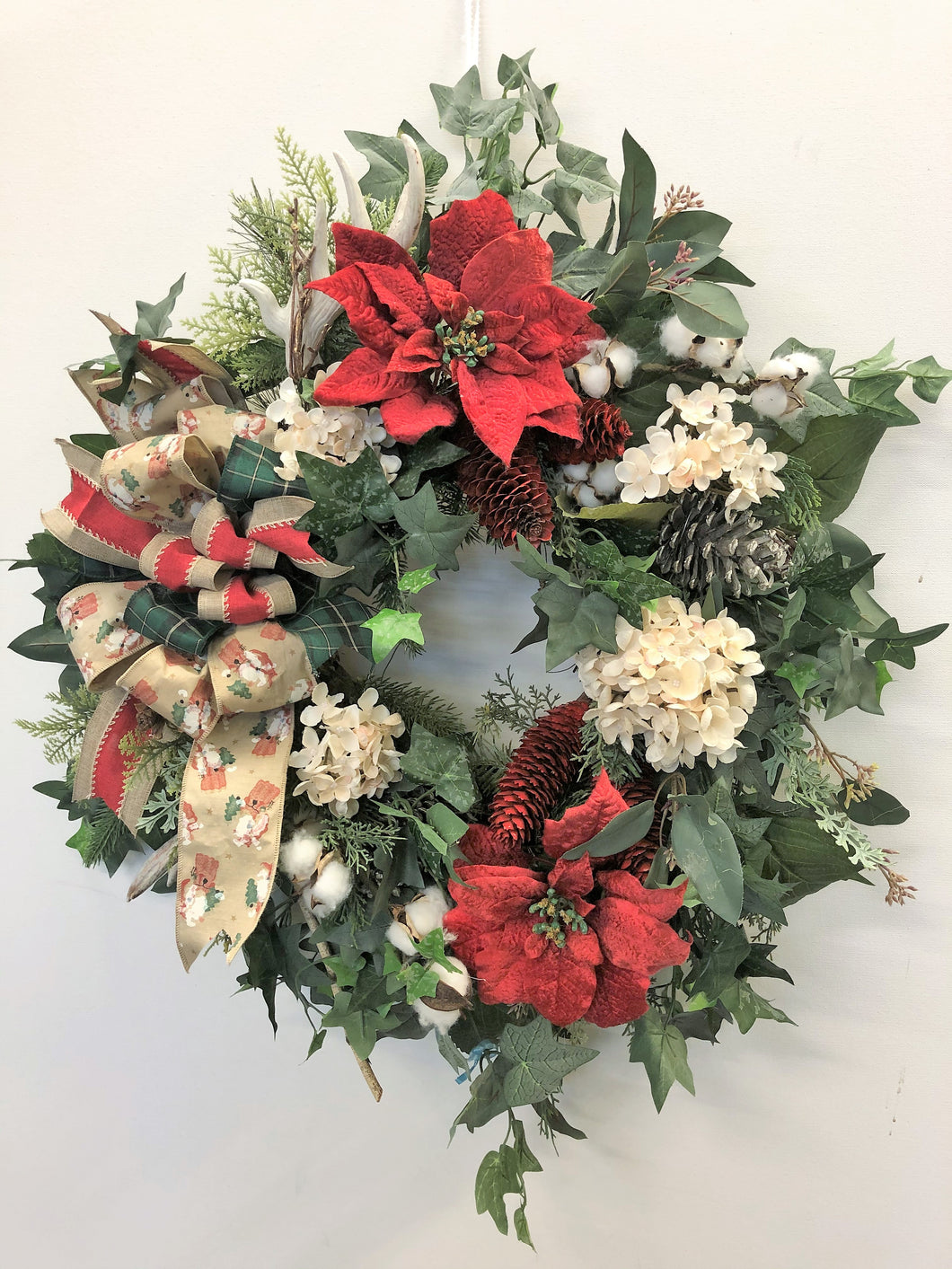 Red and Cream Silk Floral Holiday Farmhouse Style Wreath with Antlers/Hol95 - April's Garden Wreath