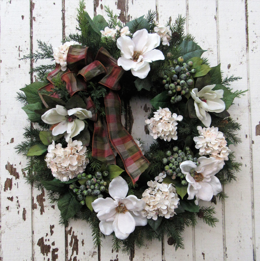 Cream and Green Holiday Wreath/Hol 36 - April's Garden Wreath