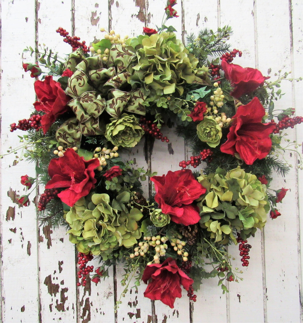 Red and Olive Winter Wreath/Trans31 - April's Garden Wreath