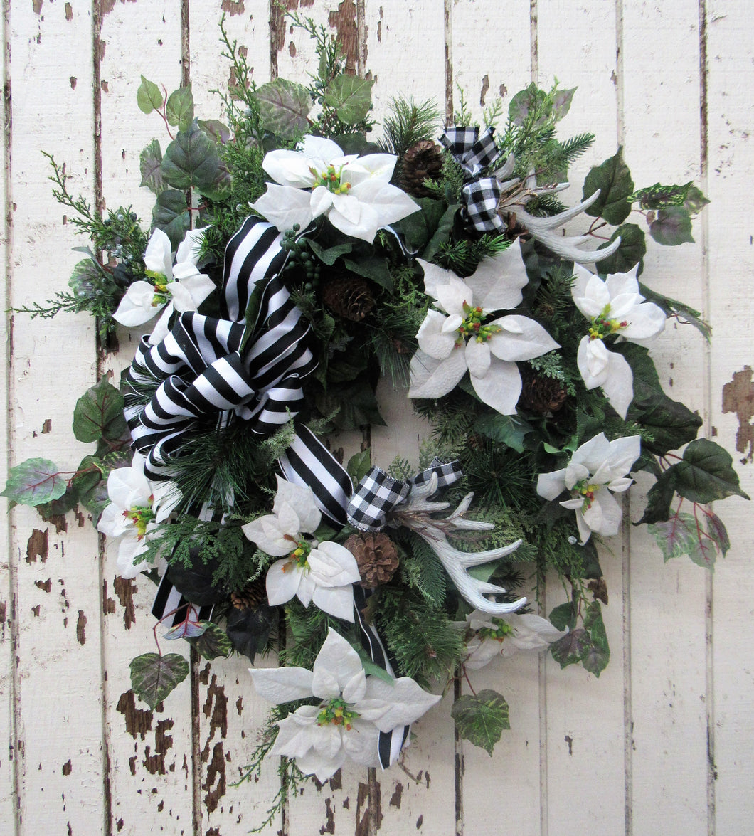 Holiday Wreath with Antlers/Hol67 - April's Garden Wreath