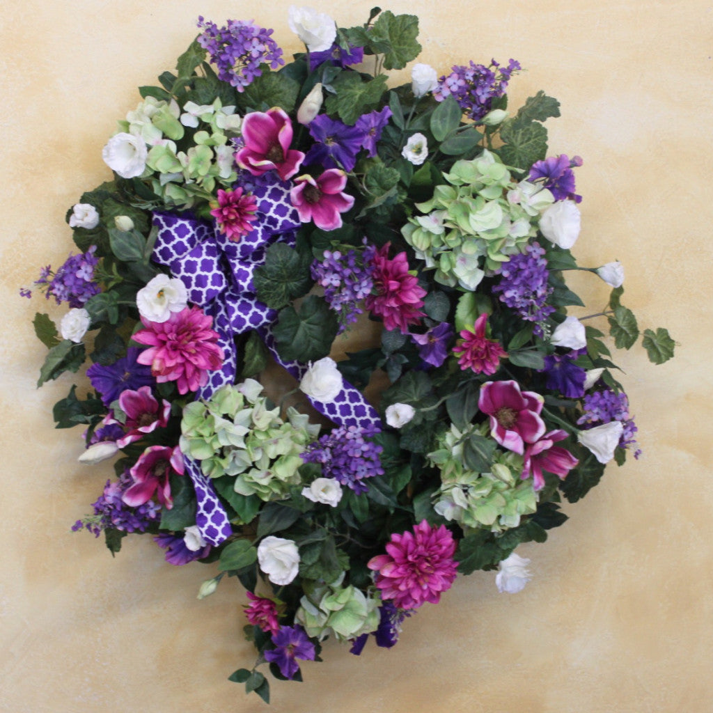 Dark Pink and Purple Spring Wreath/ENG63 - April's Garden Wreath