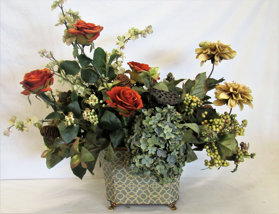 Floral Arrangement with Rust Roses, Cream Blossom, Amber Dahlia, Light Blue hydrangea - April's Garden Wreath