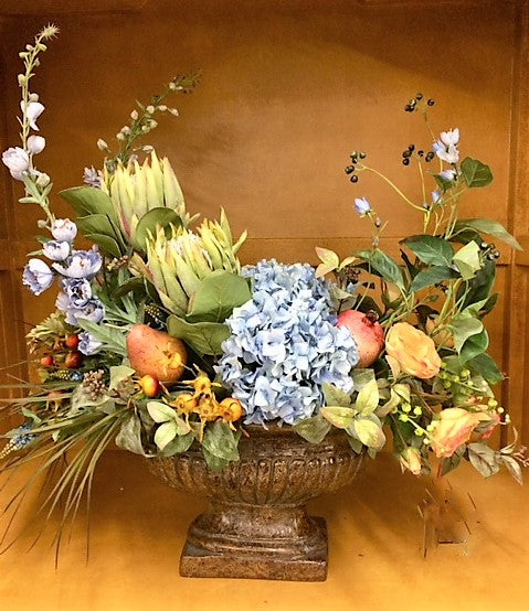 Floral Arrangement with Light Blue Delphinium, Hydrangea, Green Protea, Gold pear/Pomegranate, Red Rose Hips - April's Garden Wreath