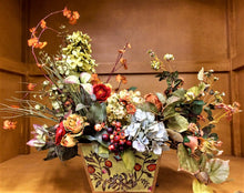 Floral Arrangement with Rust Blossom, Ranunculus, Tulip, Mini Pompom Roses, Light Green Hydrangea, Light Blue Hydrangea, Cranberry, Pale Yellow Roses - April's Garden Wreath