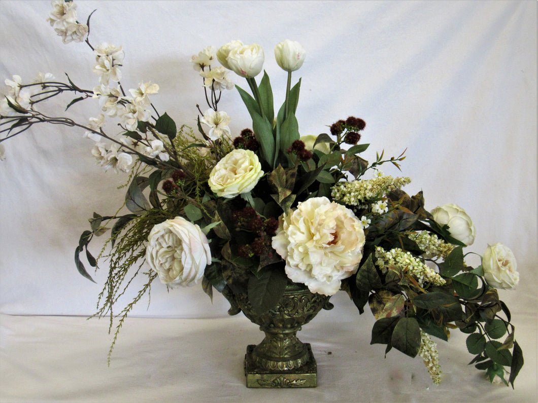 Floral Arrangement with Cream Peony, Garden Roses, Delphinium, Astilbe Tulips, Red Raspberries - April's Garden