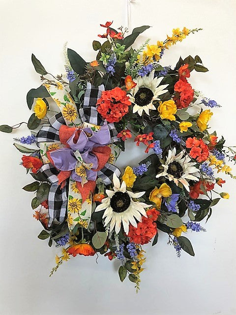 Cream Sunflower with Orange and Perwinkle Silk Floral Fall Wreath/IS02 - April's Garden Wreath