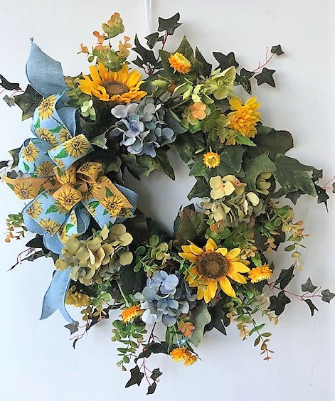Blue and Yellow Silk Floral Late Summer/Early Fall Sunflower Wreath/IS14