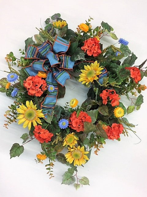 Yellow and Orange Silk Floral Late Summer Early Fall Wreath/IS22 - April's Garden Wreath