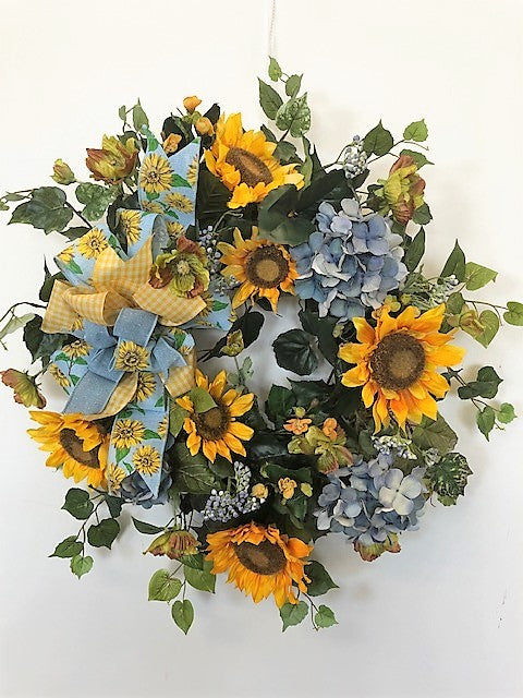 Blue Hydrangea and Gold Sunflower Silk Floral Late Summer Early Fall Wreath/IS26 - April's Garden Wreath