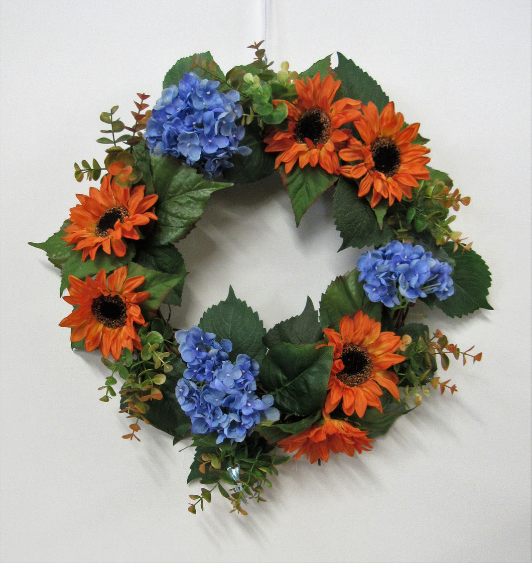 Orange Sunflower and Blue Hydrangea Silk Floral Late Summer Early Fall Wreath/IS27