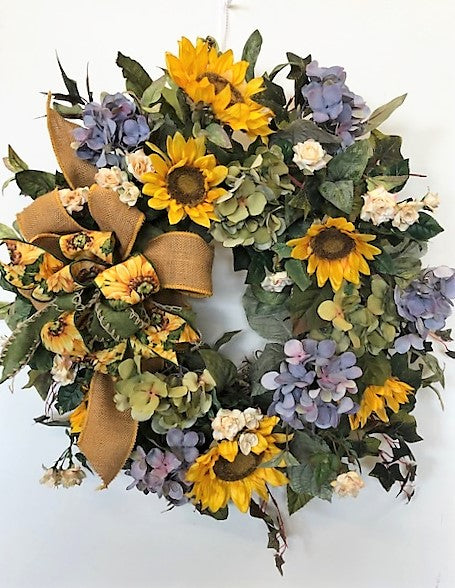 Gold Sunflower and Periwinkle Hydrangea Silk Floral Late Summer Fall Wreath/IS30 - April's Garden Wreath