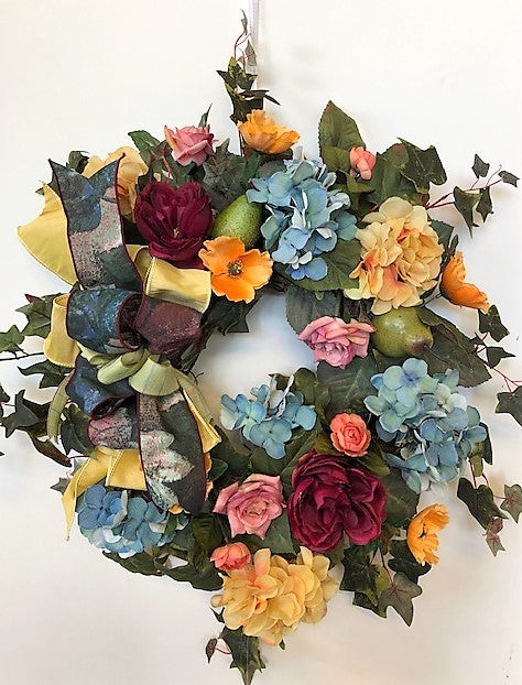 Blue and Gold Hydrangea Silk Floral Late Summer Early Fall Wreath/IS32