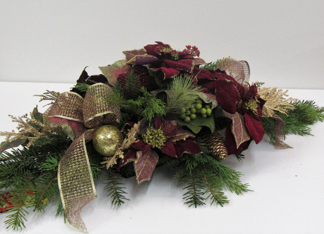 Burgundy and Gold Silk Floral Winter Holiday Arrangement with Poinsettia/ HA02 - April's Garden Wreath