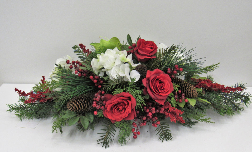 Red and White Silk Floral Winter Holiday Arrangement/ HA1 - April's Garden Wreath