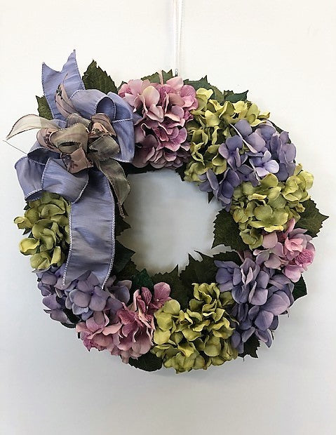 Lavender and Olive Green Hydrangea Wreath/Pet08 - April's Garden Wreath