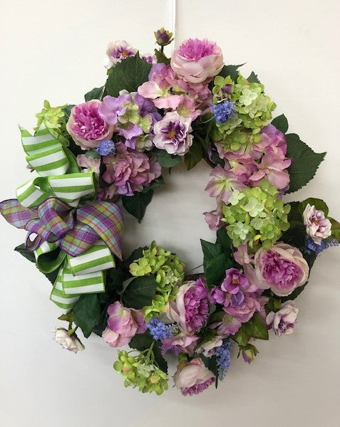 Purple and Lime Silk Floral Everyday Petite Wreath/Pet14 - April's Garden Wreath
