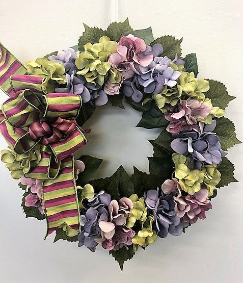 Purple, Mauve and Green Hydrangea Everyday Front Door Wreath/Pet18