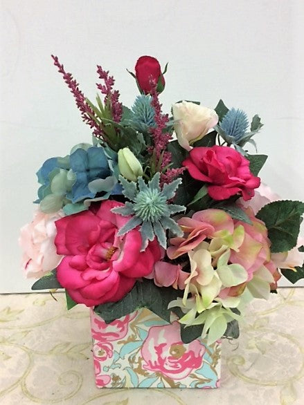 Pink and Aqua Hydrangea Silk Floral Everyday Arrangement/RA01 - April's Garden Wreath