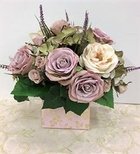 Lavender and Cream Rose Petite Silk Floral Arrangement/RA02 - April's Garden Wreath