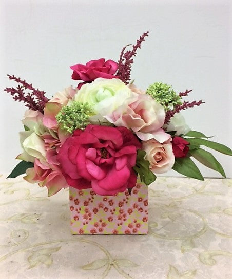 Pink, Green and Cream Petite Silk Floral Arrangement in Floral Box/RA03 - April's Garden Wreath