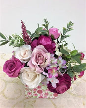 Dark and Light Pink Roses Petite Silk Floral Arrangement in Floral Box/RA05 - April's Garden Wreath