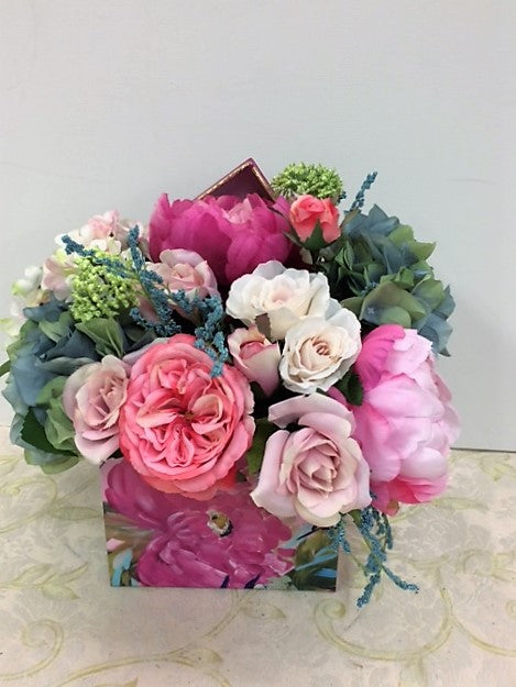 Dark and Light Pink Peony w.Hydrangeas Petite Silk Floral Arrangement/RA06 - April's Garden Wreath