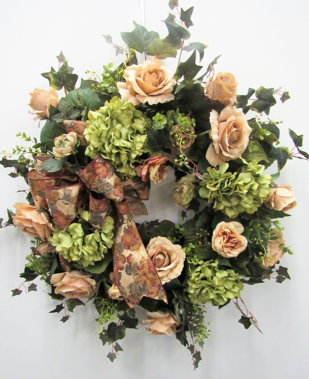 Taupe and Green Silk Floral Everyday Vintage Wreath/Rom3