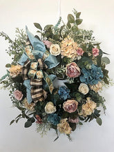Apricot and Aqua Hydrangea Silk Floral Vintage Wreath/Rom4 - April's Garden Wreath
