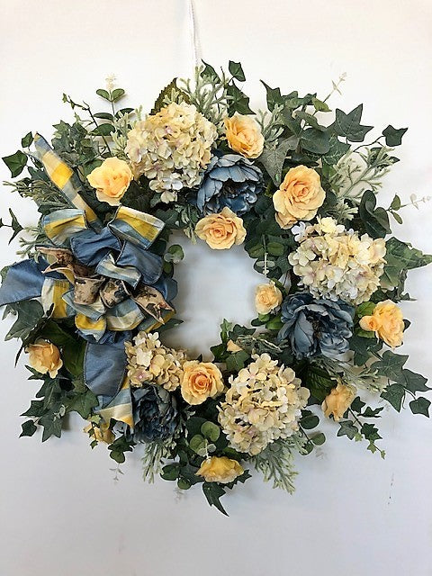 Yellow, Blue and Taupe Silk Floral Everyday Wreath/Rom22 - April's Garden Wreath