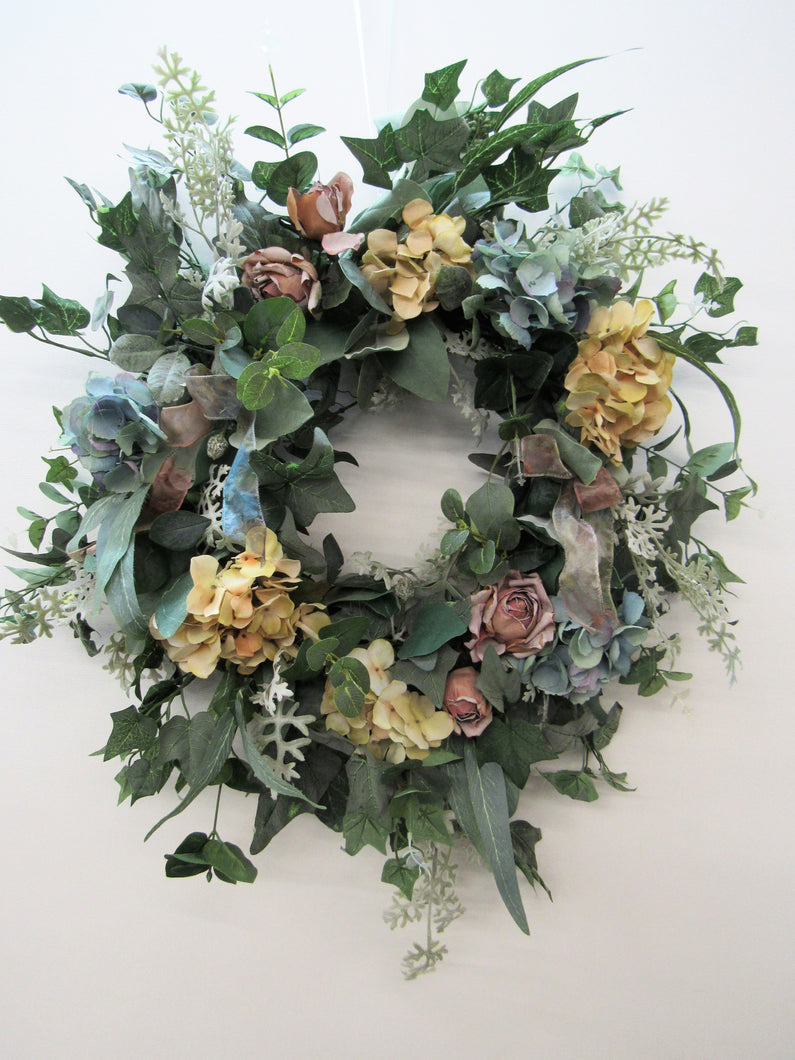 Cream, Dusty Blue and Mauve Silk Floral Dried Look Front Door Wreath/Rom25 - April's Garden Wreath