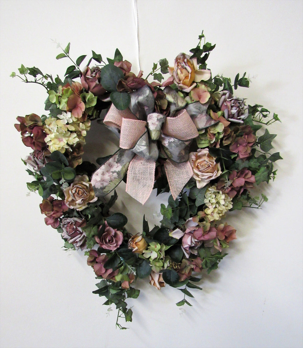 Dusty Rose and Hydrangea Heart Shapped Silk Floral Romance Wreath/Rom29 - April's Garden Wreath