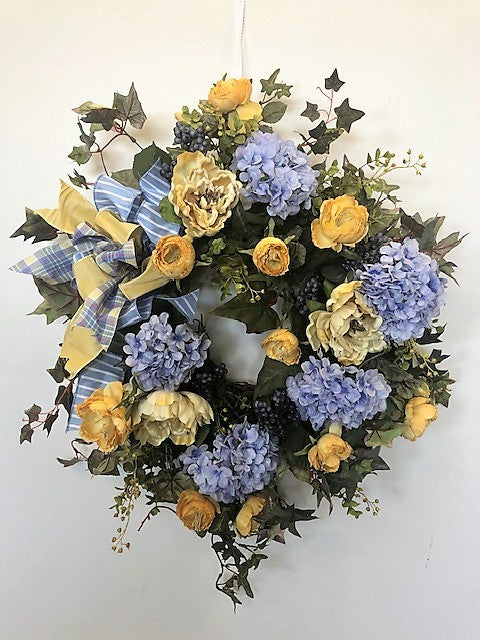 Cream, Gold and Blue Silk Floral Everyday Hydrangea Wreath/Rom33 - April's Garden Wreath