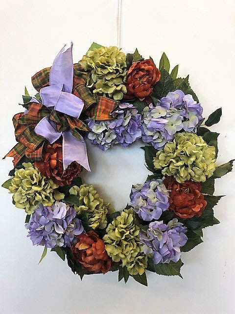 Lavender and Green Hydrangea with Rust Peony Silk Floral Everyday Wreath/Rom35