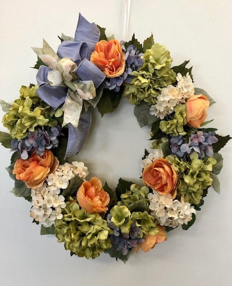 Cream, Green, and Lavender Silk Floral Hydrangea Everyday Wreath/Rom36 - April's Garden Wreath