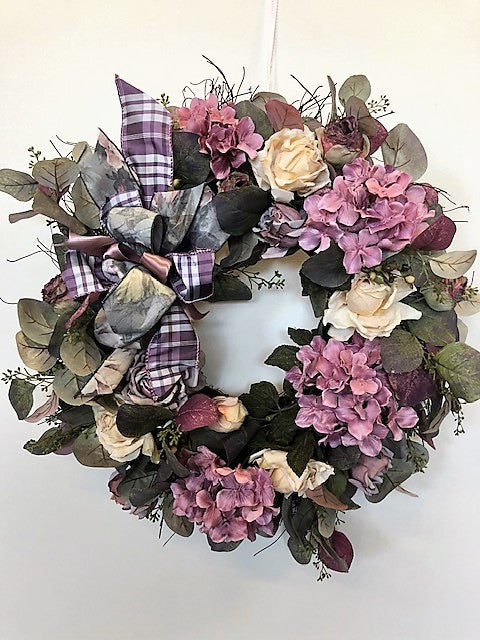 Mauve and Cream Silk Floral Everyday Wreath/Rom37 - April's Garden Wreath