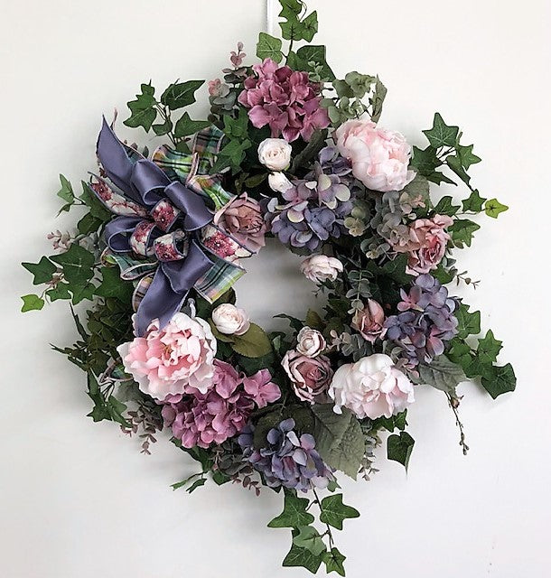 Lavender and Pink Silk Floral Romance Inspired Everyday Wreath/Rom38