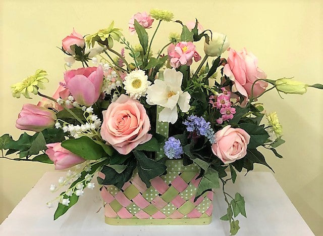 Pink and Green Silk Floral Spring Arrangement in Spring Basket/SP07