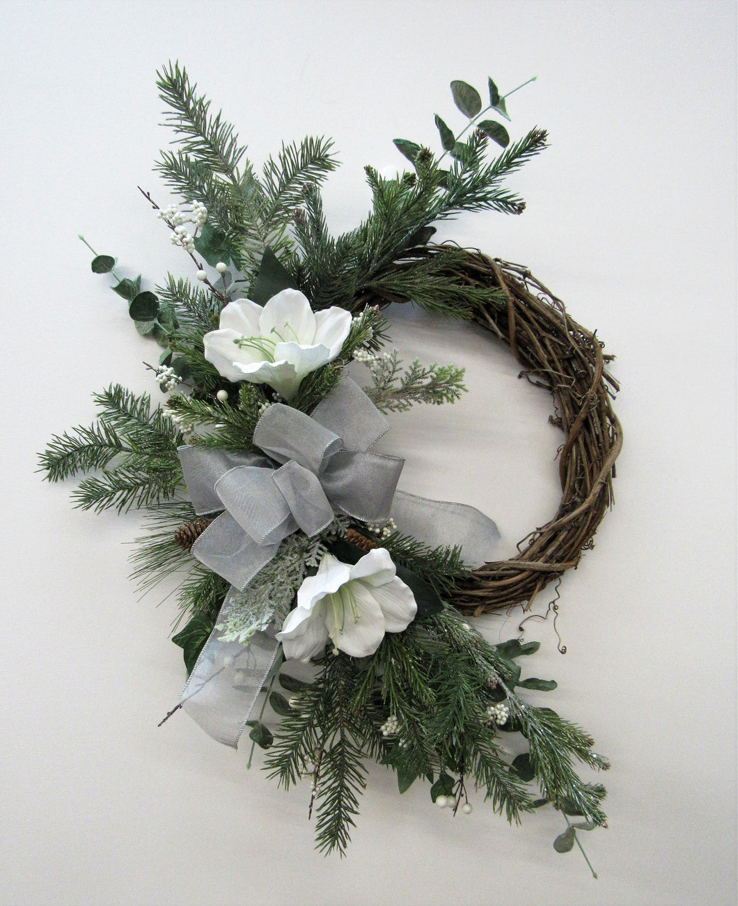 White, Green, and Silver Silk Floral Transitional Winter Crescent Wreath/ Tran50 - April's Garden Wreath