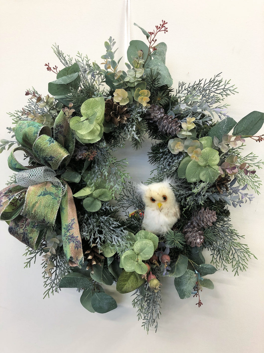 Green Silk Floral Petite Winter Wreath/Trans103 - April's Garden Wreath