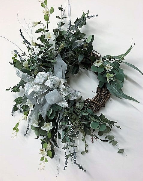 Morning Glory and Eucalyptus Silk Floral Winter Farmhouse Wreath/Trans107 - April's Garden Wreath