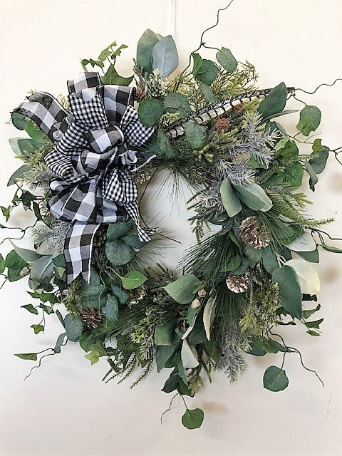 Eucalyptus Silk Floral Transitional Winter Farmhouse Wreath/Trans118