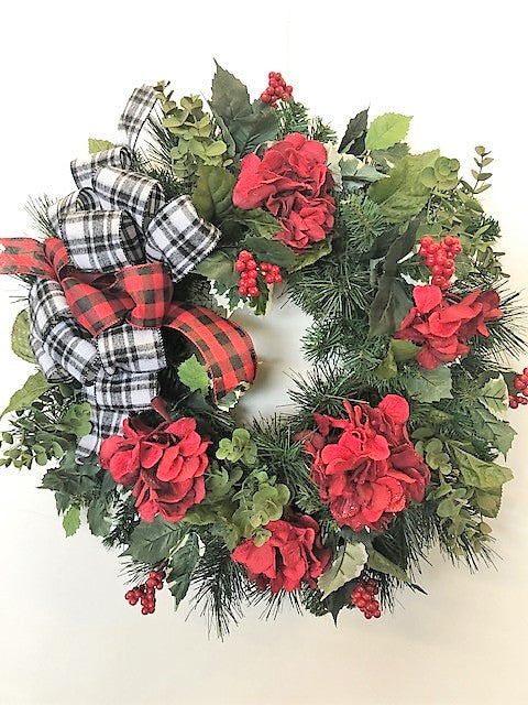 Red Hydrangea Silk Floral Transitional Winter Wreath with Buffalo Plaid Bow/Trans120