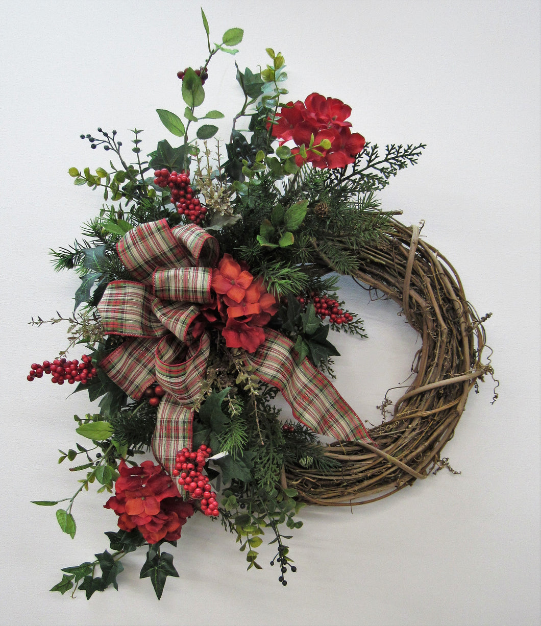 Red Hydrangea Silk Floral Crescent Transitional Winter Wreath/Trans18 - April's Garden Wreath